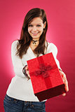 Smiling female with christmas gift