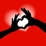 Love shape hand silhouette