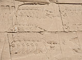 Egyptian hieroglyphic carvings on wall