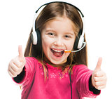 Portrait of girl in headset.