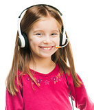 Portrait of girl in headset.