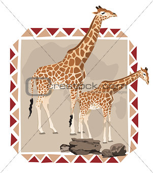 African Frame with Giraffes