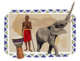 African Man and Elephant 