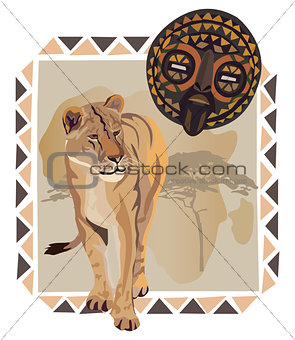 Lion and African Mask