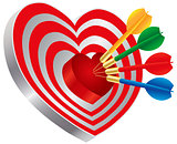 Darts on Heart Shape Bullseye Illustration