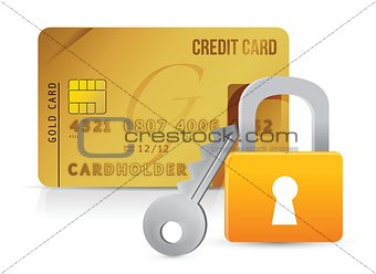 Padlock, key and credit cards