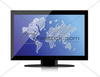computer monitor with world map on screen