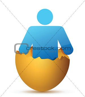 Man inside cracked eggshell