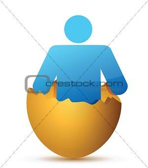 Man inside cracked eggshell