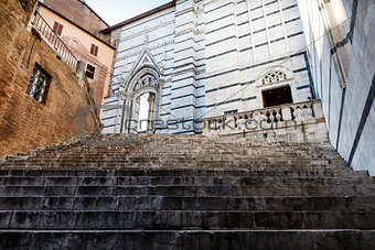 Stairway Up to Cathedral of Siena, Tuscany, Italy