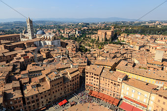 Aerial View on Piazza del Campo, Central Square of Siena, Tuscan