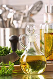 Bottle of olive oil and fresh parsley 
