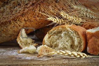 Closeup of loaves of bread on wood table