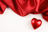 Valentine heart with red silk