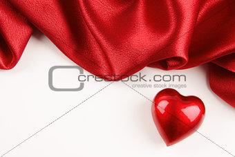 Valentine heart with red silk