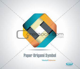 Corporate icon. Rhombus Ribbon Vector.