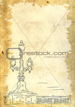 Grunge background with victorian lantern