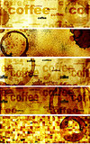 Set of banners with paper texture and drops of coffee