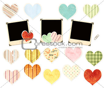 Collection of photos and paper hearts