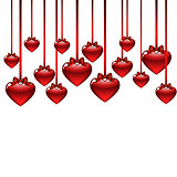 elegant background with red hearts