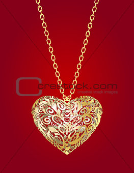 Necklace with golden heart  on a red background