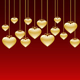 elegant background with gold hearts