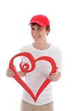 Teen with love heart cheeky wink