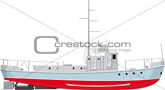 small fishing boat side view. detailed illustration isolated on white background