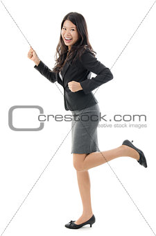 Business woman running.