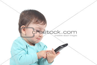 Casual baby touching a mobile phone