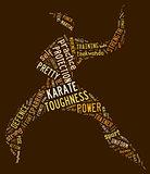 Karate pictogram on brown background