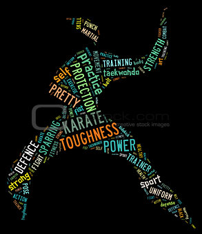 Karate pictogram with colorful words on black background