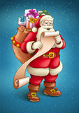 Santa Claus with sack full of gifts reading paper list