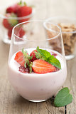 strawberry yogurt with cornflakes and mint 