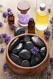 spa stones salt and lavender oil