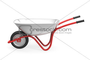 Wheelbarrow on white