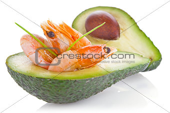 fresh avocado with shrimp