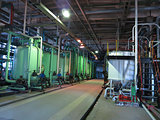 Industrial tanks, machinery, pipes, tubes inside chemical plant