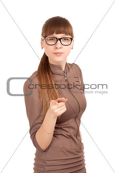 Portrait of a strict woman in glasses