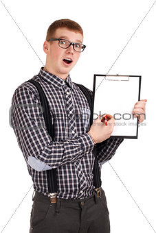 Portrait of a young man with clipping board