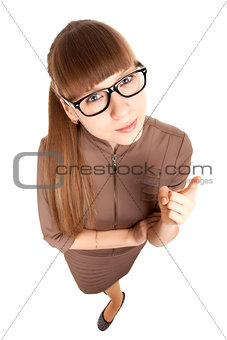 Fun portrait of a strict woman in glasses
