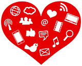 Red Heart with Social Media Icons Illustration