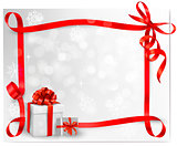 Holiday background with red gift bow with gift boxes. Vector