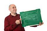 Happy man with chalkboard