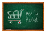 Add to basket on Green chalkboard