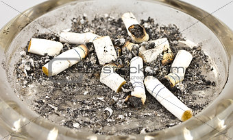 Cigarettes and ashes in an ashtray