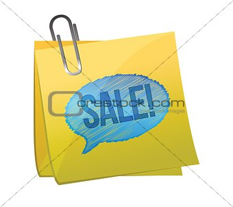 sale text on yellow sticky paper