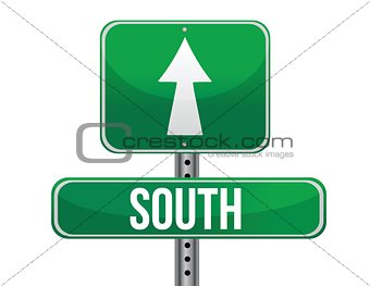 road sign to the south geographical direction