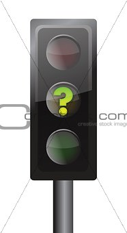 Traffic lights with yellow question mark signal