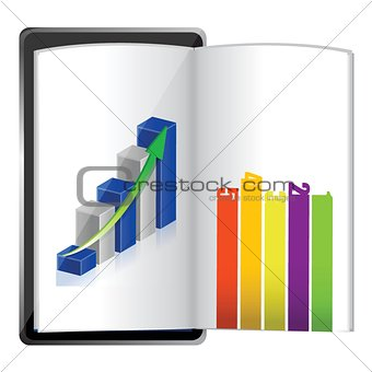 Tablet showing a spreadsheet graph paper